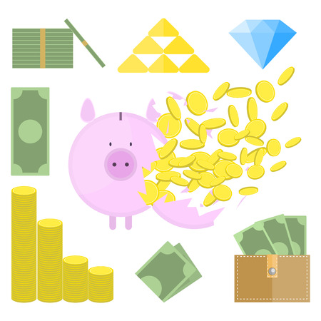 Set of money objects. Breaking Piggy Bank with lot of coins. Illustration