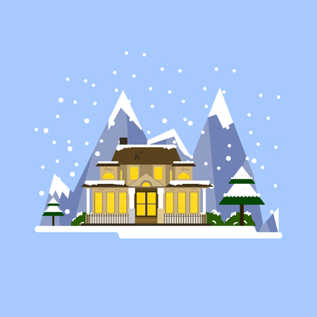 Illustration of winter resort. Beautiful house with mountains Illustration