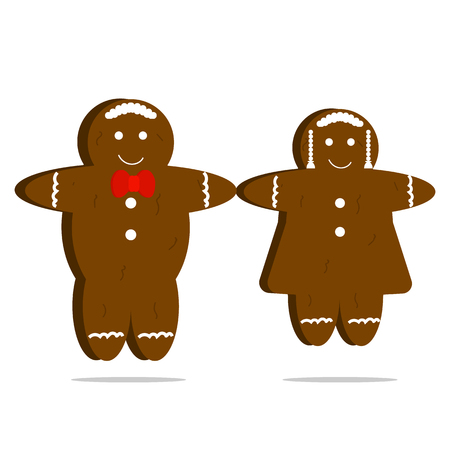 Vector gingerbread men and woman set of cookies Illustration