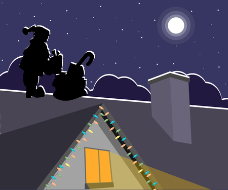 Silhouette of Santa Claus with presents on the roof at night Illustration