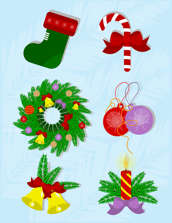 Set of christmas decoration. Vector isolated objects of winter holidays decoration Illustration