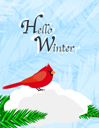Hello Winter greeting card with red cardinal sitting in the snow Иллюстрация