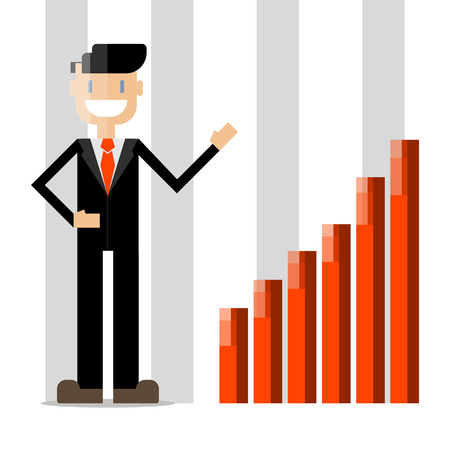 Flat design businessman character. Vector person in suit and tie.