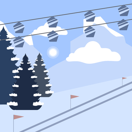 Ski mountains with funiculars. Winter vacation flat design landscape