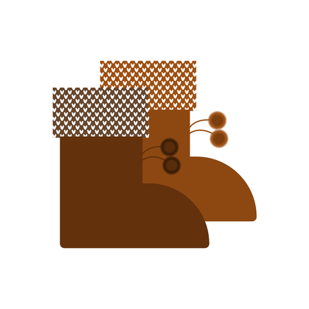 Warm winter boots icon. Vector isolated objects. Иллюстрация