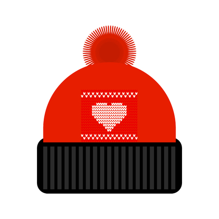 f181a453ee5 Vector icon of winter knitted hat. Red hat with pom pom.