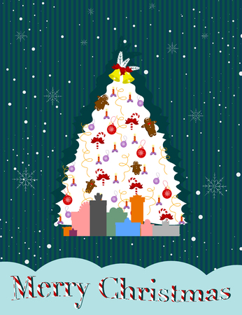 Vector Christmas greeting card with white tree and presents. Merry Christmas! Illustration