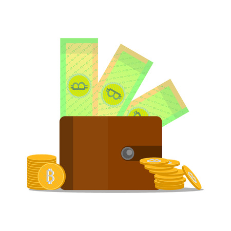 Cryptocurrency with purse and paper money. Vector bitcoin. Isolated objects .