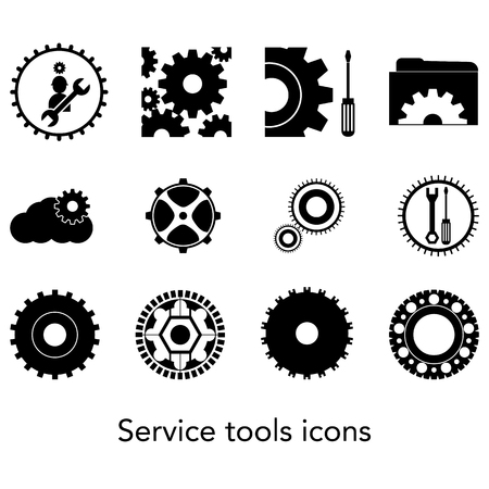 Icon collection of service tools. Setting icons.