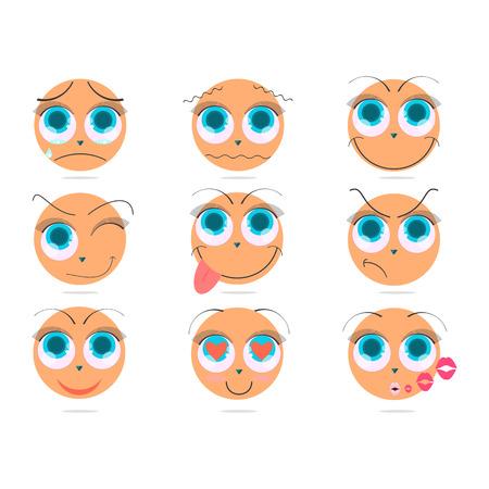 Cute style emoji emoticons icon set