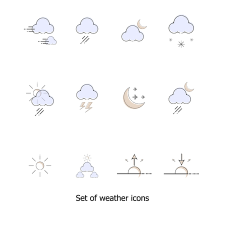 Set of weather icons vector illustration Çizim