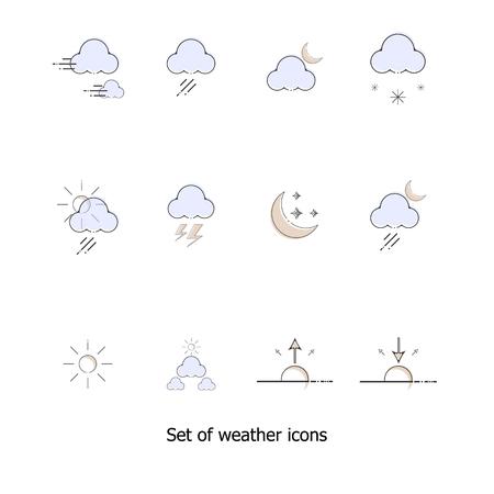 Set of weather icons vector illustration Illustration