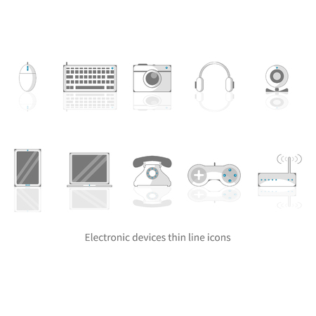 Set of device icons, Thin line isolated objects Illustration