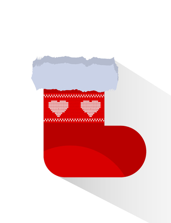Red Christmas socks with white ornaments isolated object