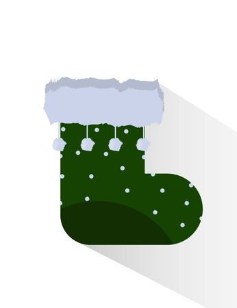 Green Christmas socks with white pom pom isolated object Illustration