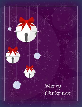 Christmas greeting card with christmas bells and pompoms on background with snowflakes