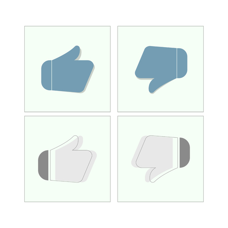 Flat design thumbs up icons, vector illustration.