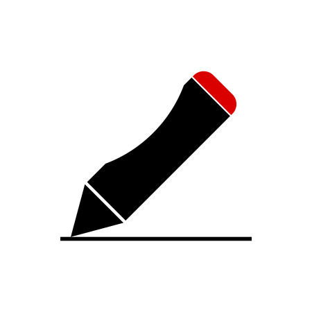 Pen icon black with red top, vector illustration. Illustration