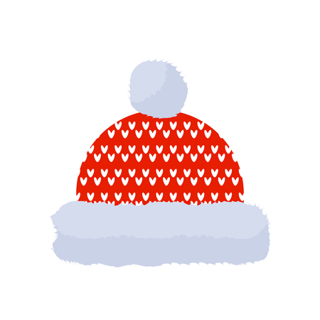 Red knitted winter hat with pom pom, vector illustration. Illustration