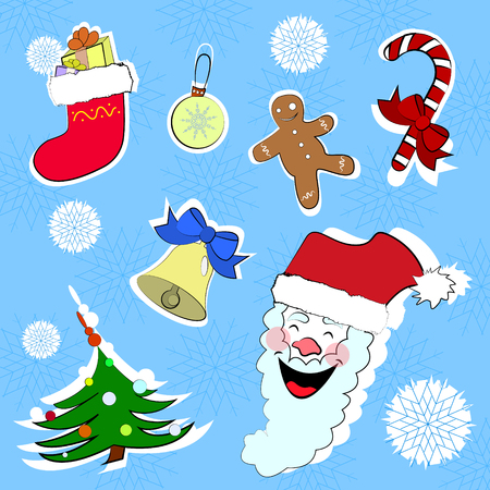 Christmas and new year vector stickers set