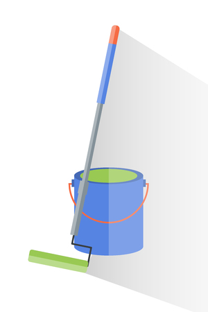 Painting tool for repair and bucket of dye illustration.