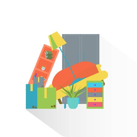 Colorful furniture. Moving to new home flat style illustration. Illustration