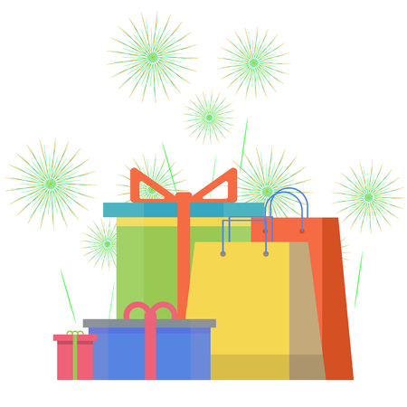 Colorful gift boxes on background with fireworks illustration.