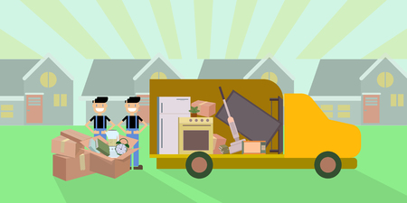 Vector illustration of moving company truck and workers with card boards on the street.