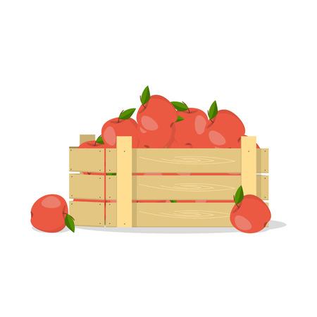 Pommes dans une boîte en bois Banque d'images - 92778499