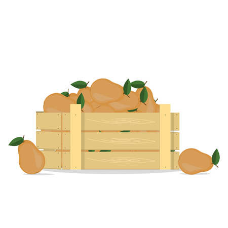 Pears in a wooden box.