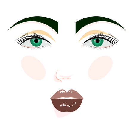 Woman's face. Vector isolated object