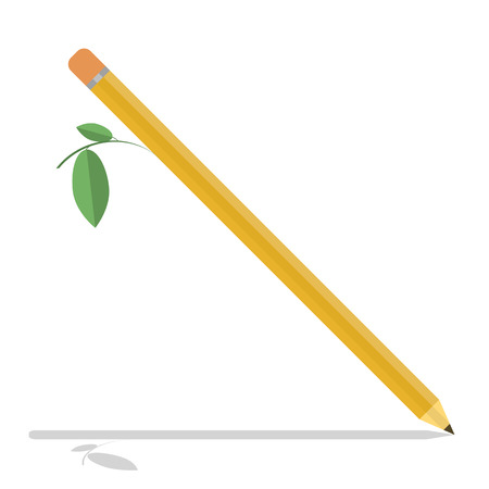 Wooden pencil with leaf isolated object