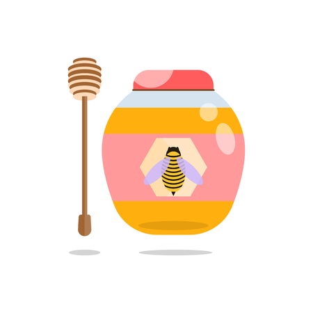 Jar of honey and honey stick . Vector isolated objects