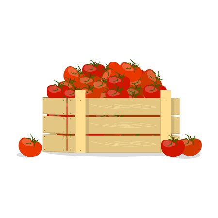 Wooden box with tomatoes, flat design object. Illustration