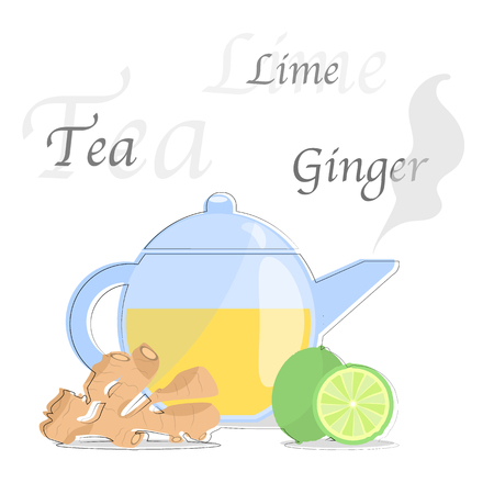 Teapot with ginger and lime