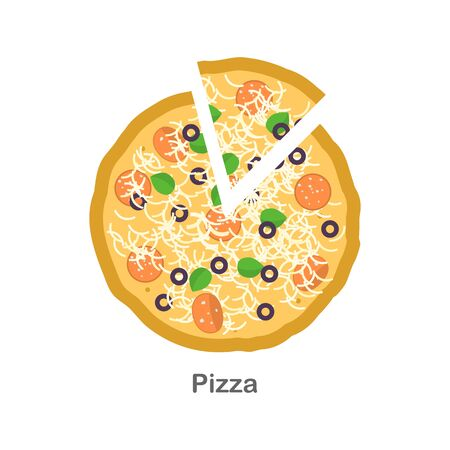 Flat design pizza and slice of peas. Simple design pizza with sausage, cheese, and olives