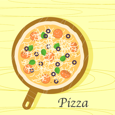 Flat design pizza on a wooden board 写真素材 - 95363773