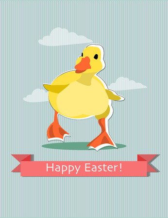 Easter greeting card with duckling