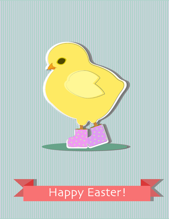 Easter greeting card with cute yellow chick