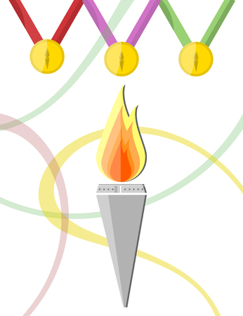 Illustration of torch with golden medals
