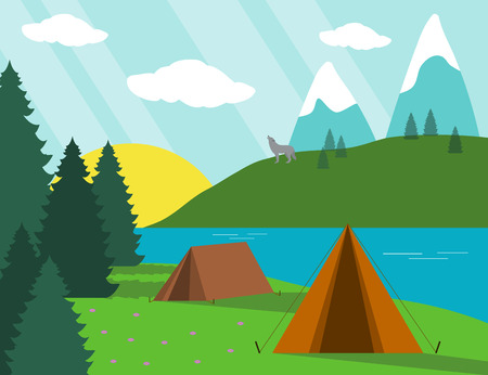 Landscape illustration of camping with wolf on background
