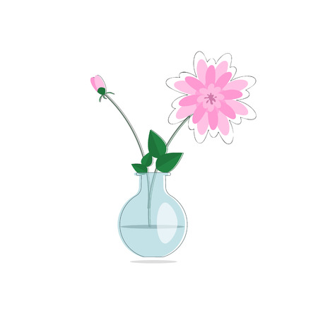 Flat style Spring flowers bouquet in glass vase Illustration