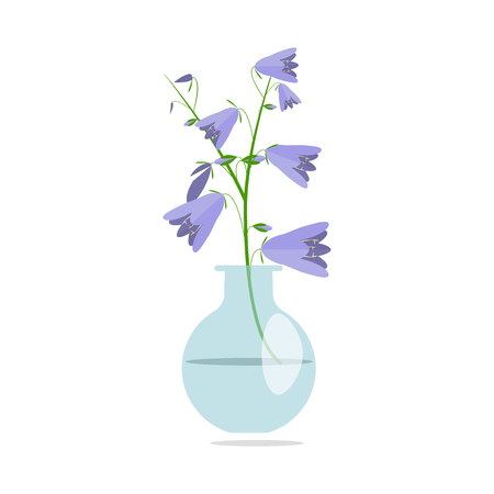 Beautiful flowers bouquet in glass vase Illustration