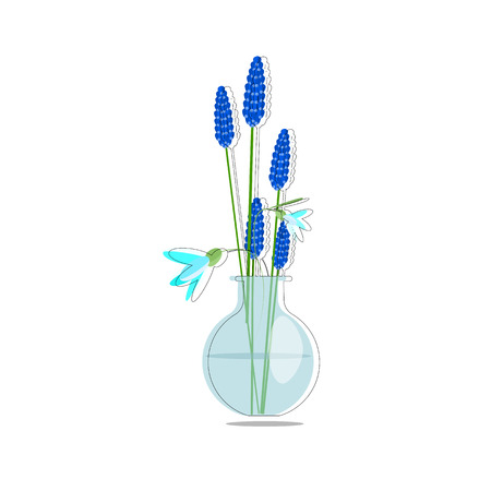 Spring flowers bouquet in glass vase