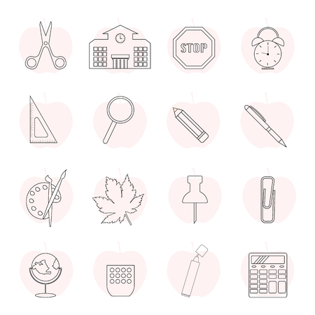 Outline school collection icons. Set of education line icons. Illustration