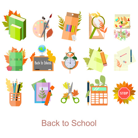 Set of school icons in flat design . Back to school supplies. Illustration