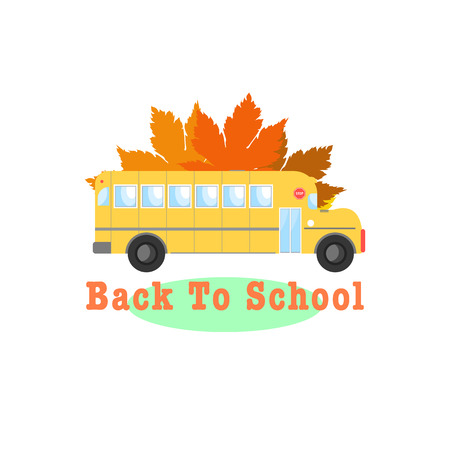 Illustration of school bus with fall leaves. Back to school concept.