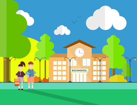 Back to school illustration, with school building, students and nature