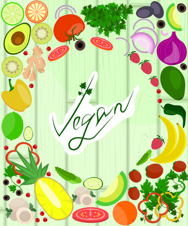 Healthy food on wooden background. Go vegan vector frame. Organic product.
