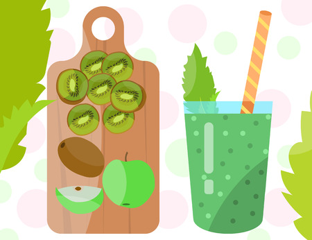 Flat designed smoothie with kiwi and green apple on a wooden cutting board